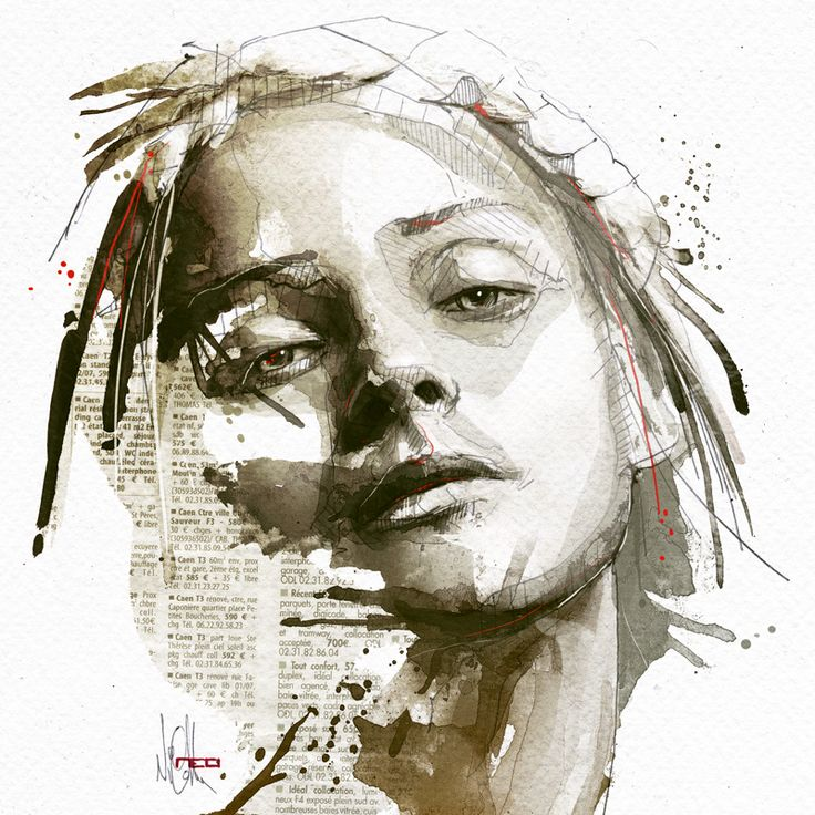 Mixed Media Portraits by Florian Nicolle  http://www.thisiscolossal.com/2014/04/mixed-media-portraits-by-florian-nicolle/