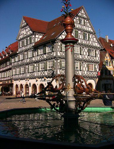 Schorndorf, Die Palmsche Apotheke und der Marktplatzbrunnen,  Germany / Baden-Wurttemberg