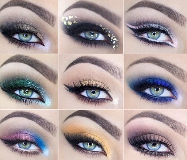 "Check out these gorgeous Younique products I would use to recreate this gorgeous eye by Kat Osu (left to right, top to bottom): 1) feisty, curious, confident, daring, devious 2) risque, naïve, devious 3) sassy, feisty, corrupted, sexy 4) ""Green on Green"" 5) beautiful, curious, gorgeous 6) awestruck, playful, precocious, curious 7) heavenly, sassy, feisty 8) giddy, gorgeous, naive, risque 9) infatuated, irresistible, vulnerable, and confident."