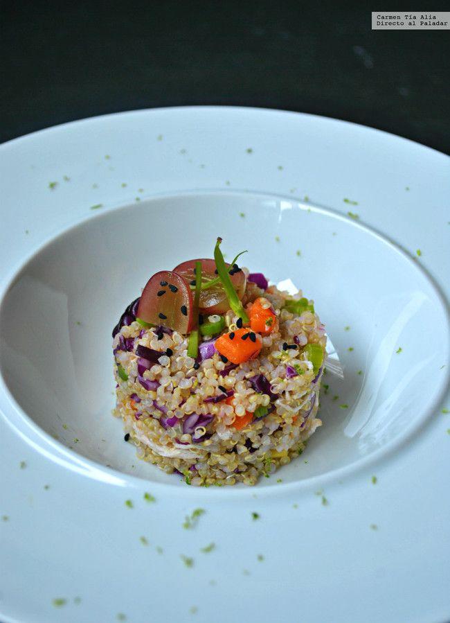 Ensalada de quinoa pollo y verduras. Receta saludable