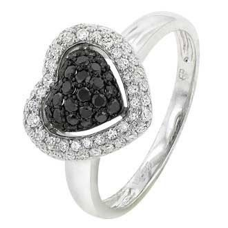 0.53 Carat Black Diamond 14K White Gold Women Rings 2.74g: Ring Size: 7 (Sizable)