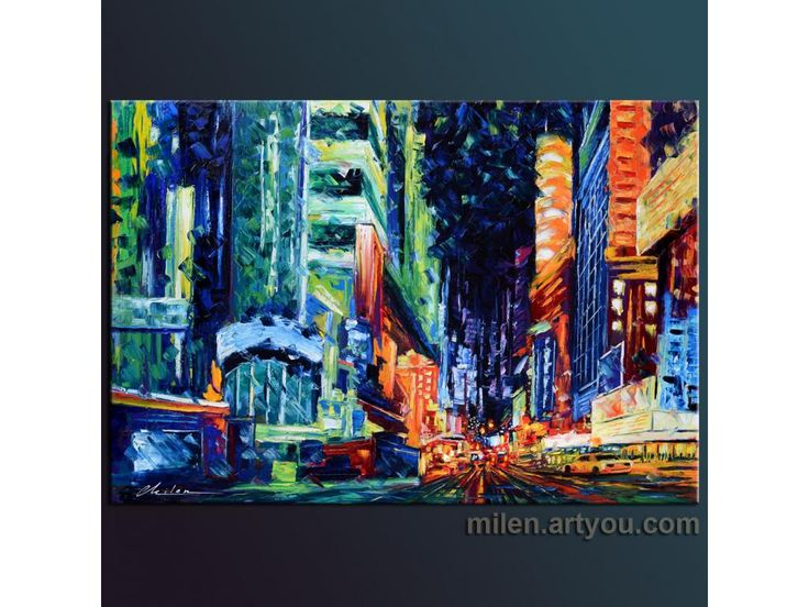 """All Night Long"" 44""x30""  original oil on canvas painted by hand  textured painting for sale modern contemporary urban city"