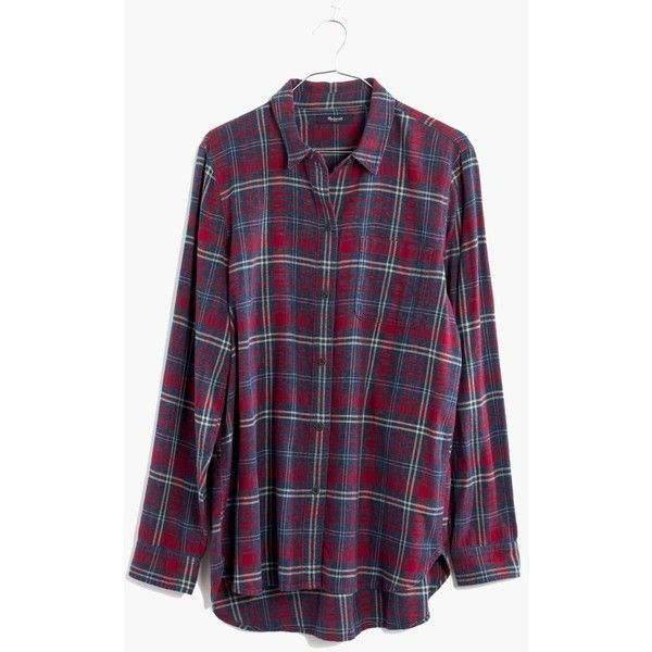 MADEWELL Flannel Ex-Boyfriend Shirt in Bainbridge Plaid ($80) ❤ liked on Polyvore featuring tops, shirts, flannels, long sleeves, red sangria, long plaid boyfriend shirt, oversized button down shirt, button-down shirts, oversized plaid shirt and button up shirts