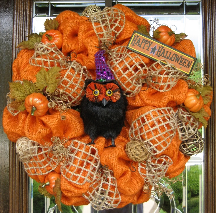 This natural and rustic burlap Halloween wreath is made with orange burlap and is accented with burlap ribbon, pumpkins and a wise 'ol owl wishing your guests Happy Halloween!  Old Time Pottery has everything you need to get started on your own!  http://www.oldtimepottery.com/