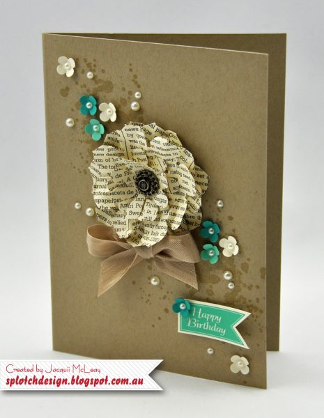 handmade card ... Gorgeous Grunge Flower Card ... layered flower using newsprint paper ... kraft base ... stamped stems with little punched flowers and pearls runs diagonally across the card ... luv it!