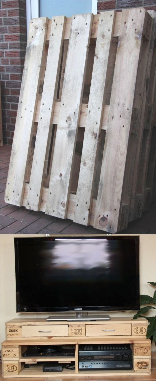 Mueble para la TV con palés / Vía scheerereien.blogspot.com