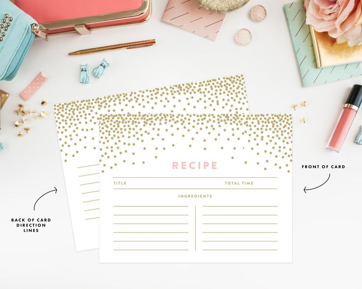 Instant Download Confetti Shower Recipe Cards by fineanddandypaperie