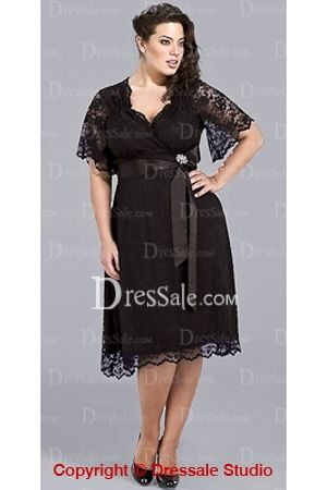 Black Tea-length Lace Evening Dresses with Sleeves and Sash