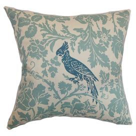 """Made in the USA, this feather-down pillow is wrapped in cotton and highlighted by a perched bird and flowing floral silhouettes.   Product: PillowConstruction Material: Cotton cover and 95/5 down fillColor: BlueFeatures:  Insert includedHidden zipper closureMade in Boston Dimensions: 18"""" x 18""""Cleaning and Care: Spot clean"""