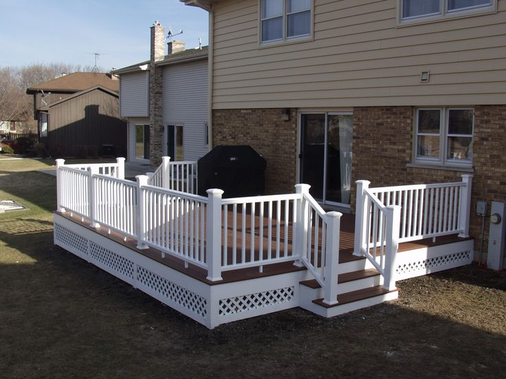 Front Porch Brown Deck White Lattice Google Search