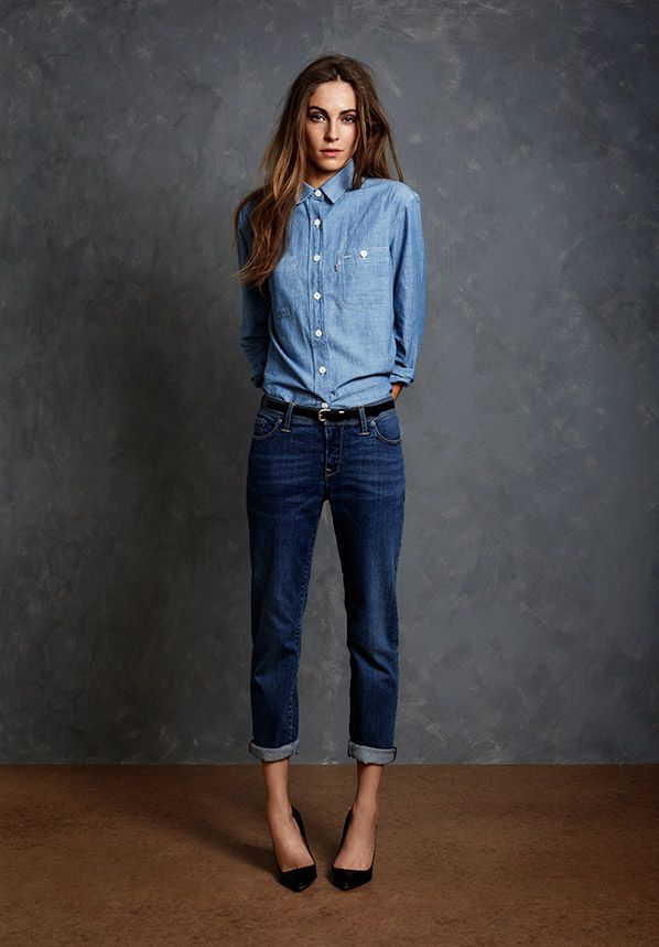 Boyfriend jeans, denim on denim, preppy.