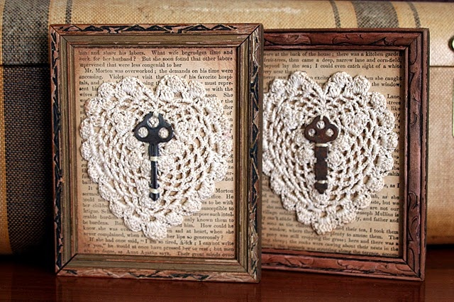 doilies and vintage keys ...and don't forget the old book page backing it all..sweet for Valentine's too