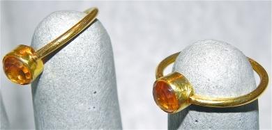 Gold Ring with round Citrine Stone  - #poshprezzi