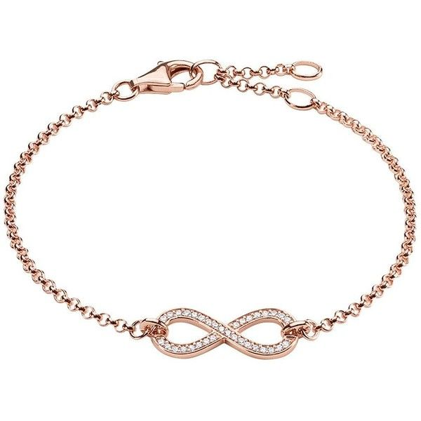 Thomas Sabo Infinity Bracelet In Rose Gold 18Cm (1.830.975 IDR) ❤ liked on Polyvore featuring jewelry, bracelets, adjustable bangle, rose jewelry, infinity jewelry, infinity bangle and thomas sabo