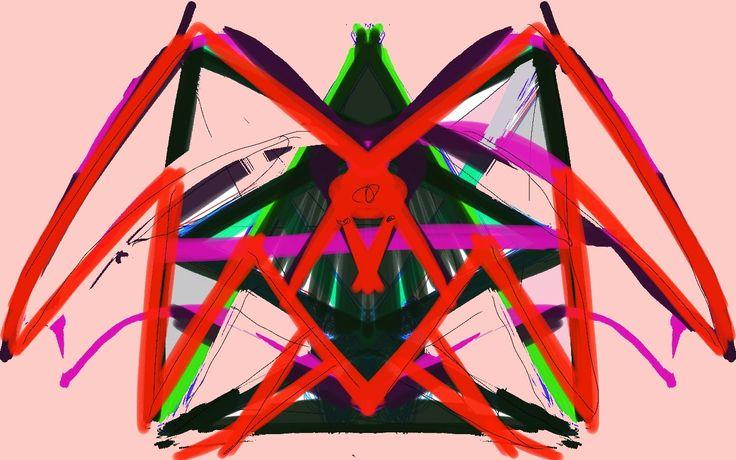 Mixed Media: Paardenkop en vleermuis vleugels.