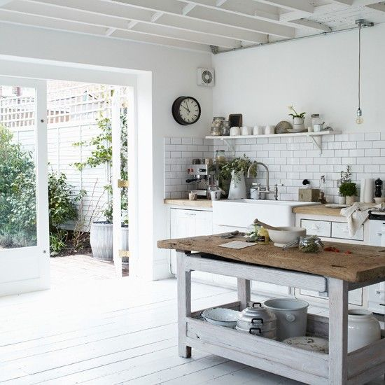 white floors/subway tile/rustic bench/farmhouse sink. paul massey's home