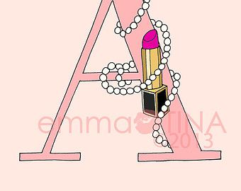 Lipsticks and Pearls Letter of your Choice Pink by emmakisstina