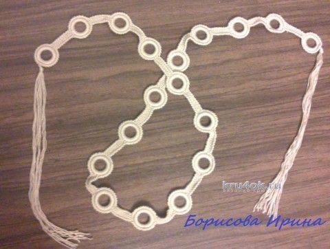 Вязаный крючком пояс. Работа Ирины вязание и схемы вязания