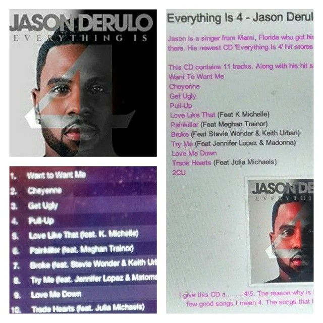 Check out my review on Jason Derulo's CD http://iheartcelebrities519.blogspot.ca/2015/06/everything-is-4-jason-derulo-cd-review.html