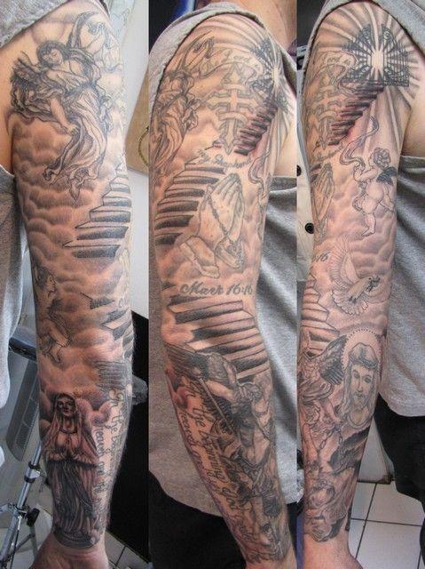 Cool Demon Sleeve Angel Tattoo And