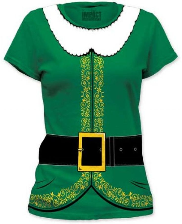 This Elf Costume T-Shirt will have you looking just like Buddy this year!   This cotton t-shirt is based off the outfit that Buddy the Elf wears in the Christmas classic movie Elf. You may not be Will Ferrell but can still bring holiday cheer to the office party or family gathering with this great shirt!