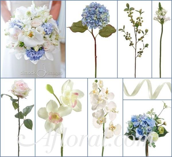 Blue Hydrangeas, White Star of Bethlehem & Freesia, Cream Orchids, and Cream Roses and Orchids with Pink Centers.