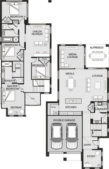 Entry at side, kitchen/living, master bed with retreat, combination playroom and study