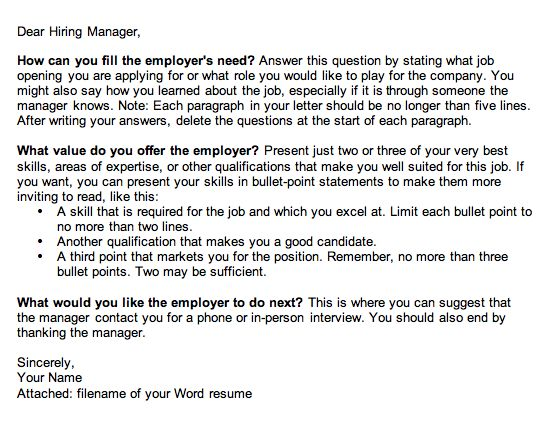 3-Point Cover Letter Template