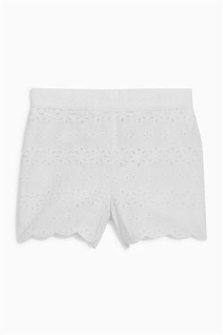 Pantaloni scurți albi cu broderie (3 luni - 6 ani)