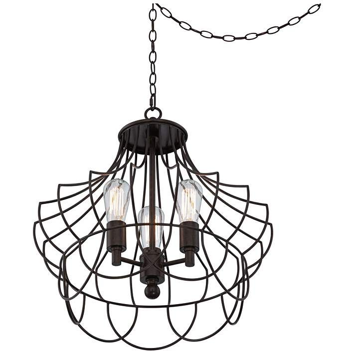 Hansel 19 12 Wide Bronze Metal Edison Swag Led Chandelier