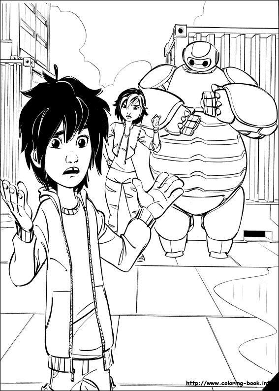 Hiro Hamada And GoGo Tomago Baymax Coloring Page