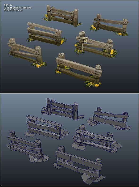 here is a set of low poly fence peices, each one is slightly different and all are very well textured.