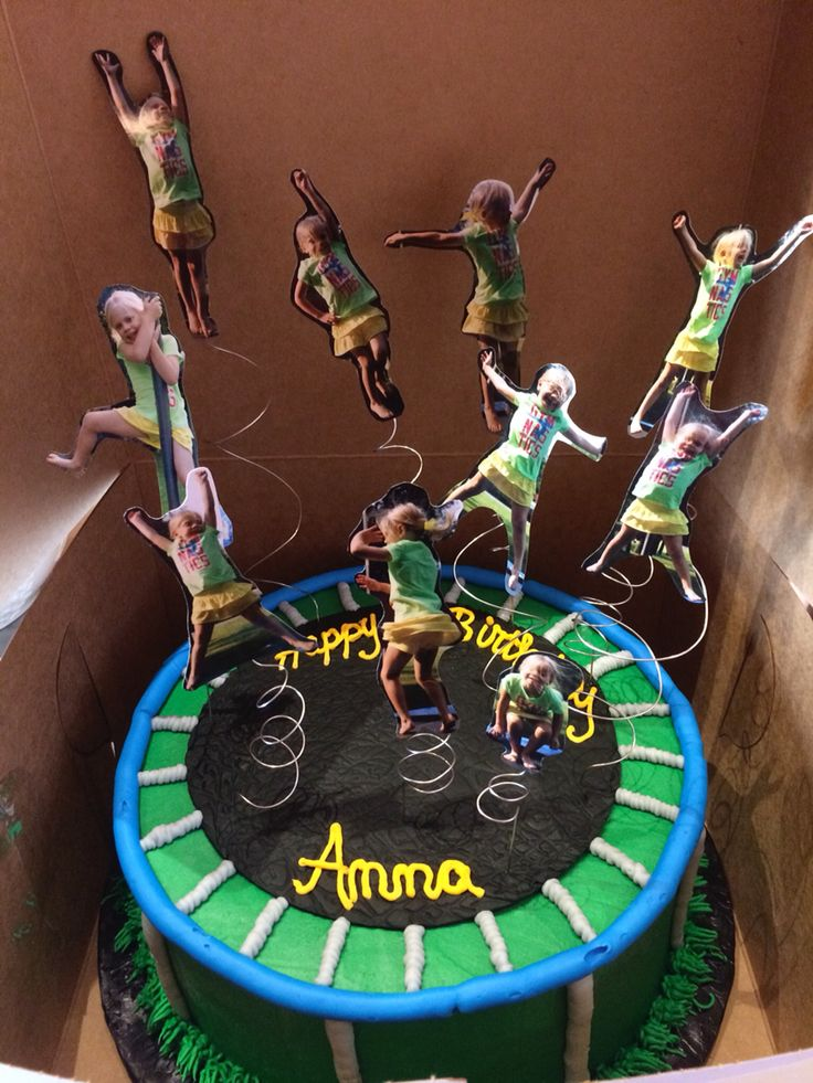 Anna's awesome trampoline birthday cake! Cake made by Brenda Snow Cakes, decorations by mommy and daddy