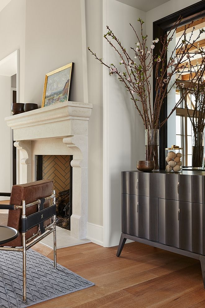 Fireplace Is Limestone By Francois Co And Wall Paint Color Benjamin Moore Collingwood Benjaminmoorecollingwood