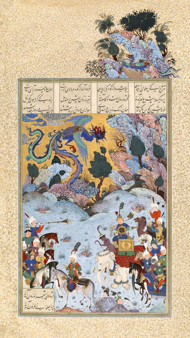 "Sam Returns with His Son Zal (Abu'l Qasim Firdausi (Muslim; Poet; 935–1020 CE Persian): Shahnama (""Book of Kings"")) (ca. 1520 CE Safavid Miniature Painting) #Iran #Illuminated #Manuscript #Illumination #Royal #Noble #Cavalier #Raider #Knight #Horse #Men #Man #Indian #Hindu #Elephant #Goad #Handler #Shiite #Shia #History #Costume #Turban #Saddle #Bridle #Equine #Beard #Arabic #Art #Weapon #Shamshir #Sword #Mace #Armor #Instrument #Trumpet #Animal"