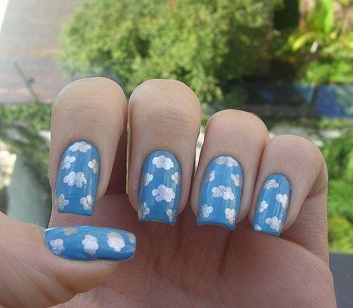 clouds: Silver Clouds, Blue Sky, Nailart, Beautiful Nails, Cloud Nails, Cloudy Nails, Creative Nails, Nail Art, Blue Nails