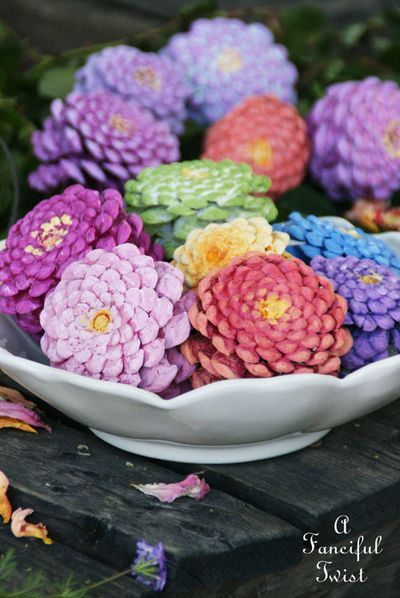 Beautiful zinnias made from pinecones! From the blog, Fanciful Twist: http://afancifultwist.typepad.com/a_fanciful_twist/2015/04/lets-make-zinnia-flowers-from-pine-cones.html