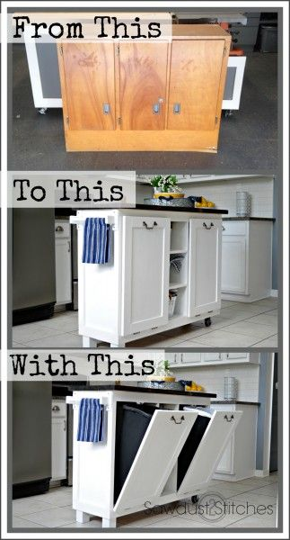Cabinet into a Kitchen Island - Sawdust 2 Stitches - this is a really neat concept and I love the duel tilt out trash containers.