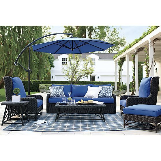 Calistoga Wingback Lounge Chair With Sunbrella ® Mediterranean Blue Cushion    Mediterranean Blue | Crate And Part 26