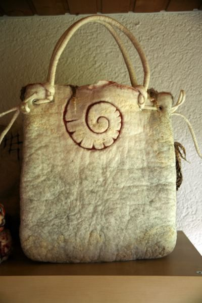 felt purse - spiral/shell detail