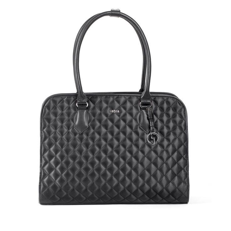 SOCHA Black Diamond #Businesstasche für Damen bei Koffermarkt: ✓Außenfach für Smartphones ✓schwarz  ✓für Laptops bis 15,6 Zoll ✓aus Nivodur #Tasche #Laptoptasche #Handtasche
