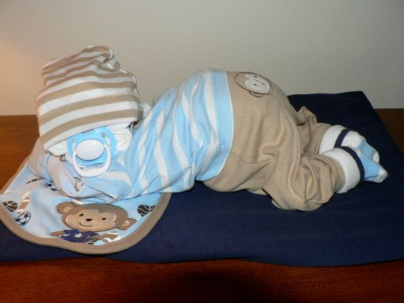 Boy Sleeping Baby Diaper Cake by erinjhazen on Etsy