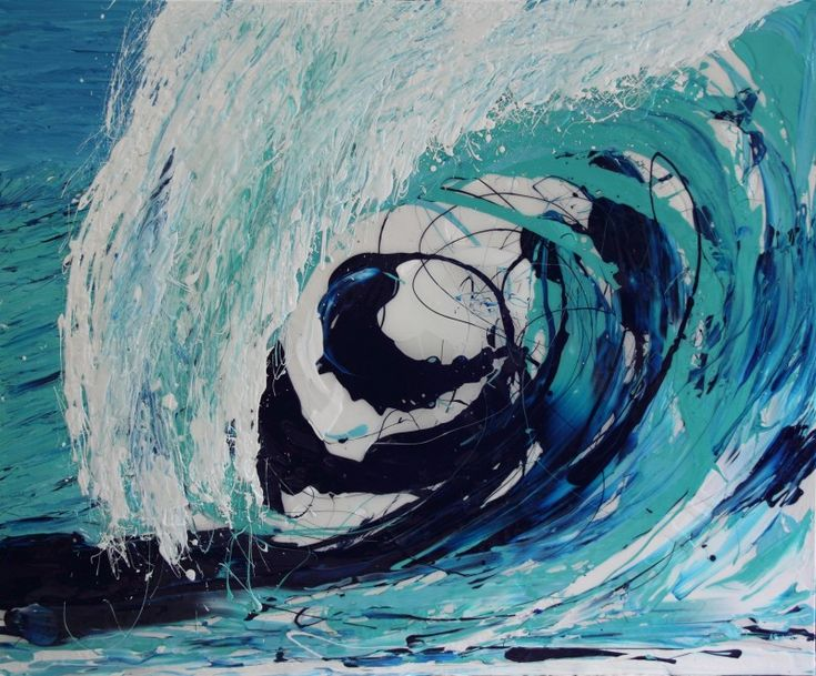 'BIG WAVE'  Mixed Media And Resin On Canvas 5.0cm (D) x 165.0cm (H) x 200.0cm (W) Large Paintings, Wave Series  Maelstrom.  This painting draws you in to the turbulence, it almost sucks you up.  It reminded me of my children playing in large waves, jumping in as they are about to tumble over and getting caught up in the motion.  Delightful!