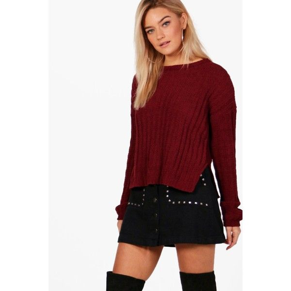 Boohoo Eloise Rib Knit Chenille Jumper (45 PLN) ❤ liked on Polyvore featuring tops, sweaters, chunky turtleneck sweater, turtle neck sweater, red turtleneck, red turtleneck sweater and party jumpers