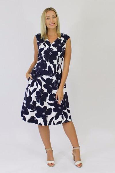 Jendi - 10-373 Navy Print Dress