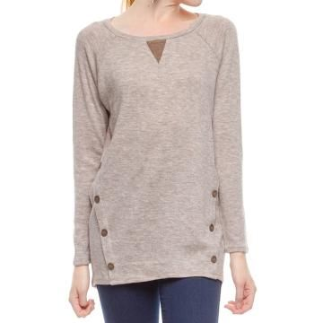 Long Sleeve Knit Top w/ Contrast & Button Detail