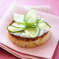 For a tea party! Cucumber and Dill-Sour Cream on English Muffin