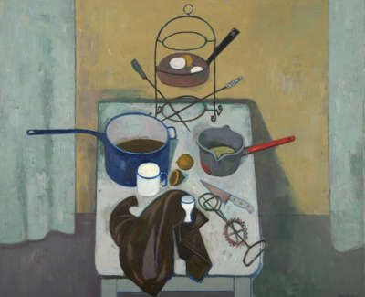 Leon Morrocco - Still Life with Blue Pan 1972