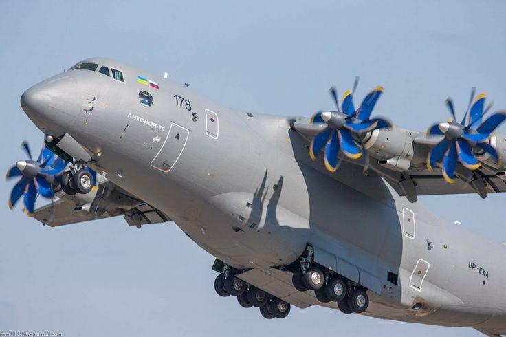 Antonov An-70 is the Ukraine's company medium range transport aircraft.