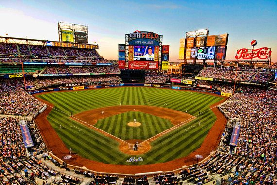 This is a fine art photograph of the NEW YORK METS home, Citi Field, in New York City. This shot was taken during a beautiful Saturday evening SUBWAY SERIES game (in June, 2012) between the METS and the YANKEES. Image is 6X9 (other sizes are available - see below.) Each photograph